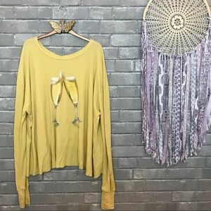 wildfox couture // yellow champagne thermal top s